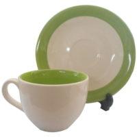 แก้วกาแฟพร้อมจานรอง-วนขอบเขียว