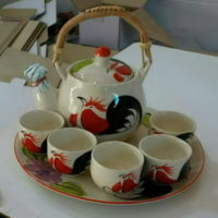ชุดกาน้ำชาหูหวายเล็ก-ลายไก่