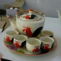 ชุดกาน้ำชาหูหวายใหญ่-ลายไก่